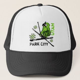 Park City Utah green theme skier hat