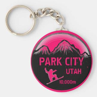 Park City Utah pink snowboard art keychain