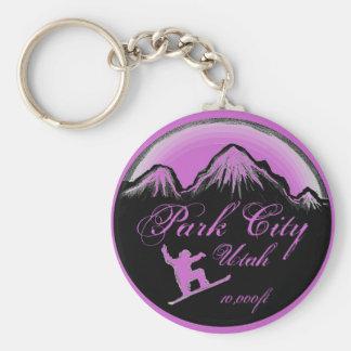Park City Utah purple snowboard art keychain