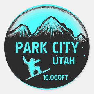 Park City Utah teal snowboard art stickers