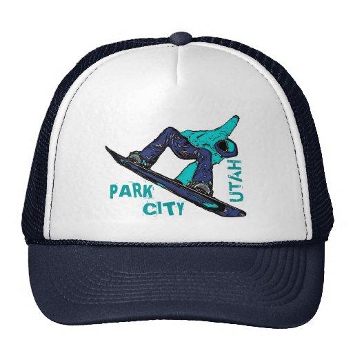 Park City Utah teal snowboarder hat