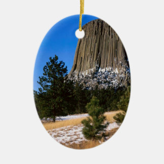 Park Devils Tower Monument Wyoming Ceramic Oval Decoration