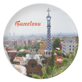 Park Guell in Barcelona, Spain Plate