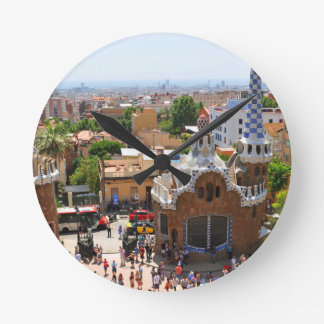 Park Guell in Barcelona, Spain Round Clock