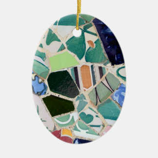 Park Guell mosaics oval Ornament