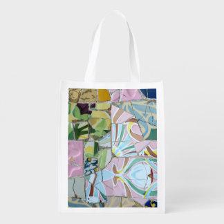 Park Guell mosaics Reusable Grocery Bag