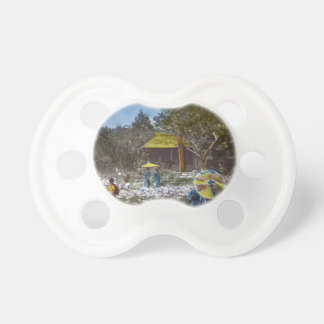Park in Tokyo Japan Vintage Hand Tinted Baby Pacifiers