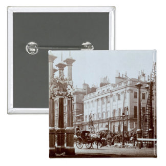 Park Lane being decorated for Queen Victoria's Dia 15 Cm Square Badge