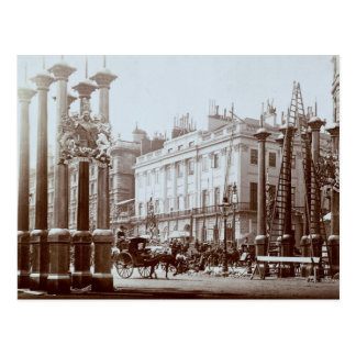Park Lane being decorated for Queen Victoria's Dia Postcard