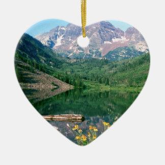 Park Maroon Bells White River Colorado Ceramic Heart Decoration