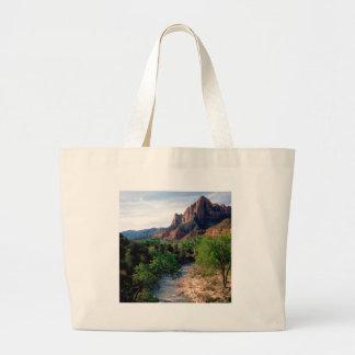 Park Virgin River The Watchman Zion Utah Canvas Bags