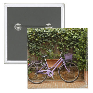 Parked bicycle, Pienza, Italy, Tuscany 15 Cm Square Badge
