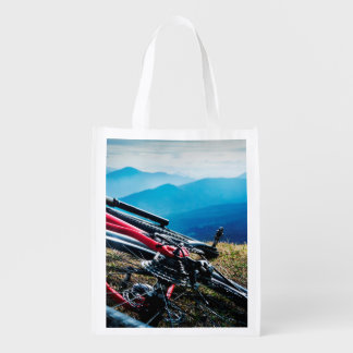 Parked Bike Overlooking Vista Reusable Grocery Bag