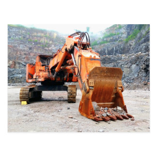 Parked Dented Up Rock Quarry Excavator Postcard