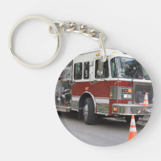 Parked Red Fire Engine Double-Sided Round Acrylic Key Ring