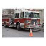 Parked Red Fire Engine Poster