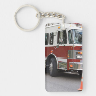 Parked Red Fire Engine Single-Sided Rectangular Acrylic Key Ring