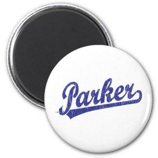Parker script logo in blue 6 cm round magnet
