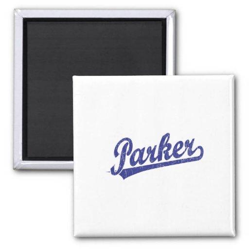 Parker script logo in blue magnets