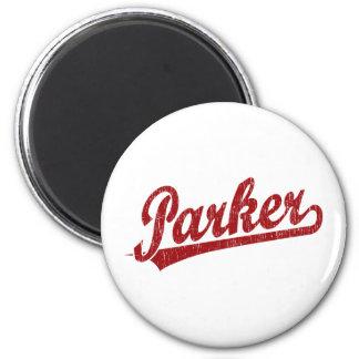 Parker script logo in red 6 cm round magnet