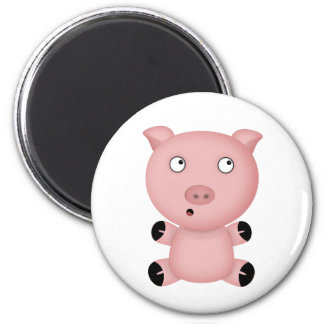 Parker the Cute Pink Cartoon Pig 6 Cm Round Magnet