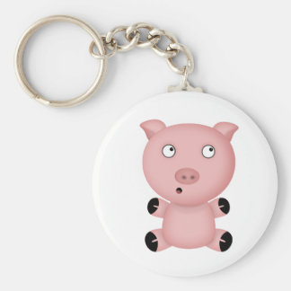 Parker the Cute Pink Cartoon Pig Basic Round Button Key Ring