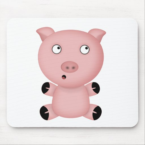 Parker the Cute Pink Cartoon Pig Mouse Pad