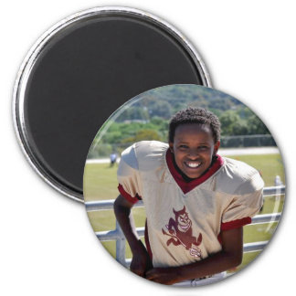 Parker's First Football Game 6 Cm Round Magnet