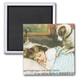 Parkers Ginger Tonic Girl with Dog Square Magnet