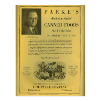 Parke's Canned Foods Postcard