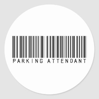Parking Attendant Bar Code Round Sticker