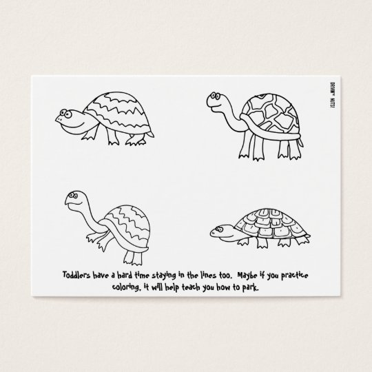Parking Between the Lines - Colouring Book Note Business Card