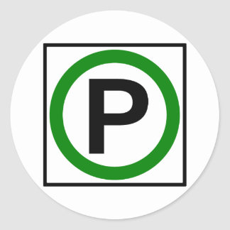 Parking Permitted Highway Sign Classic Round Sticker