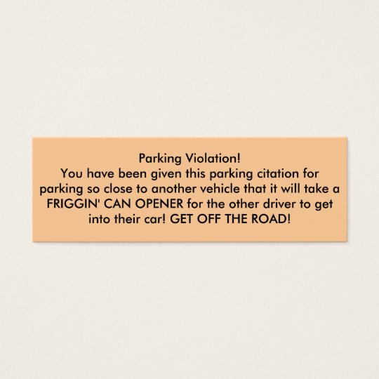 Parking Violation! Mini Business Card
