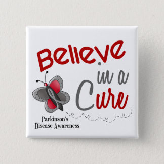 Parkinson's Disease Butterfly 2 Believe In A Cure 15 Cm Square Badge