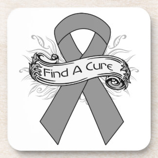 Parkinson's Disease Find A Cure Ribbon Beverage Coaster