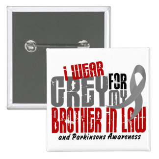 Parkinson's Disease I WEAR GREY FOR BROTHER-IN-LAW 15 Cm Square Badge
