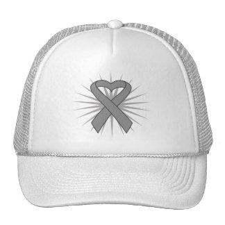 Parkinsons Disease Awareness Heart Ribbon Mesh Hat