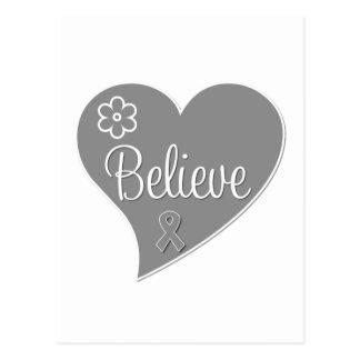 Parkinsons Disease Believe Gray Heart Postcard