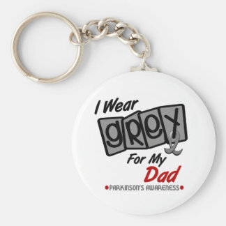Parkinsons Disease I WEAR GREY For My Dad 8 Basic Round Button Key Ring