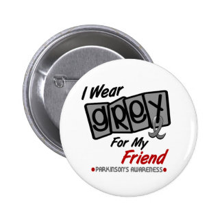 Parkinsons Disease I WEAR GREY For My Friend 8 6 Cm Round Badge