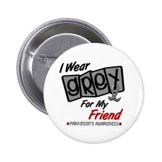 Parkinsons Disease I WEAR GREY For My Friend 8 6 Cm Round Badge