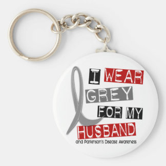 Parkinsons Disease I WEAR GREY FOR MY HUSBAND 37 Basic Round Button Key Ring