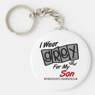 Parkinsons Disease I WEAR GREY For My Son 8 Basic Round Button Key Ring