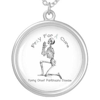Parkinson's Disease Pray for a Cure Round Pendant Necklace