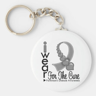 Parkinsons Disease Ribbon For The Cure Keychain