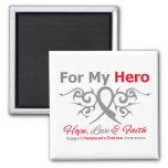 Parkinsons Disease Tribal Ribbon Hero Square Magnet