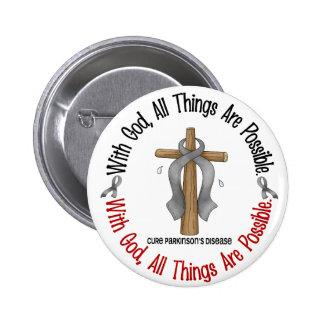 Parkinsons Disease WITH GOD CROSS 6 Cm Round Badge