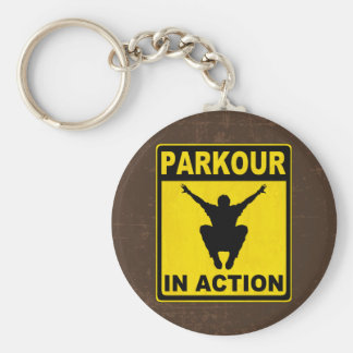Parkour In Action Signboard Basic Round Button Key Ring