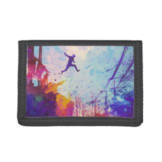 Parkour Urban Free Running Free-styling Modern Art Tri-fold Wallet
